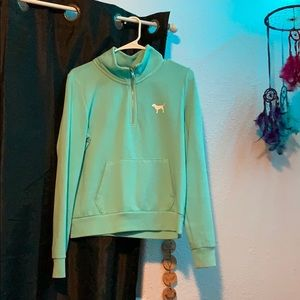 victoria's secret quarter zip mint sweatshirt
